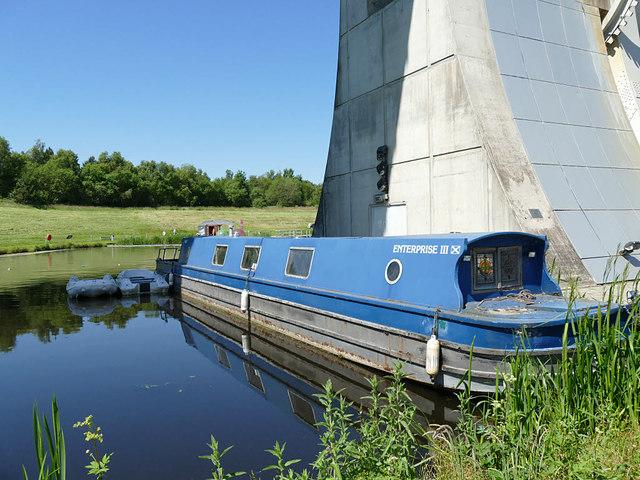 Boat moored  under the Falkirk Wheel