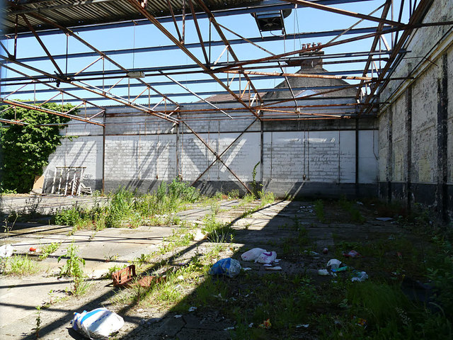 Inside a derelict building on Carmuirs Street