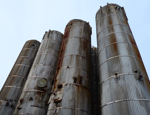Storage tanks at the JG Pears factory