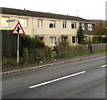SO4383 : Warning sign - staggered crossroads, Shrewsbury Road, Craven Arms by Jaggery