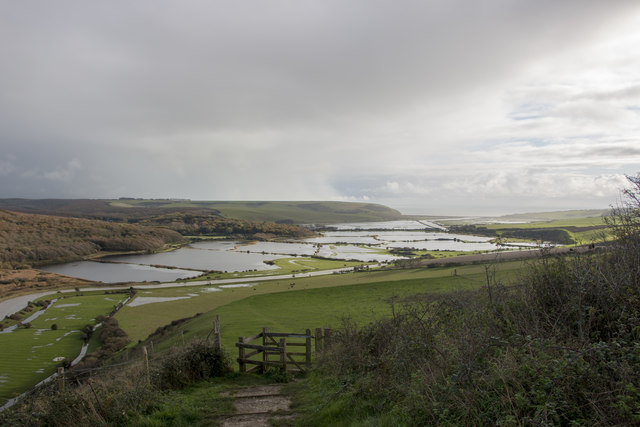 Floods on the River Cuckmere as seen from near the White Horse