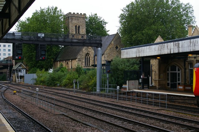 Lincoln: St Mary le Wigford Church, from Lincoln Central station