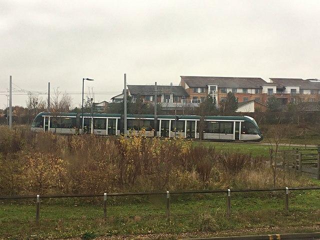 NET tram leaving Clifton Park & Ride tram stop