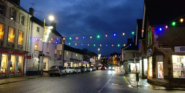 Christmas lights on Oakham High Street