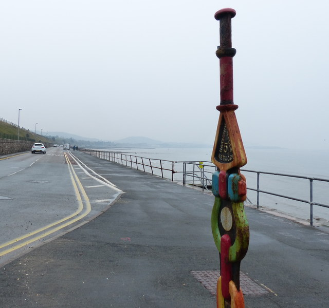 Millennium milepost along the Wales Coast Path