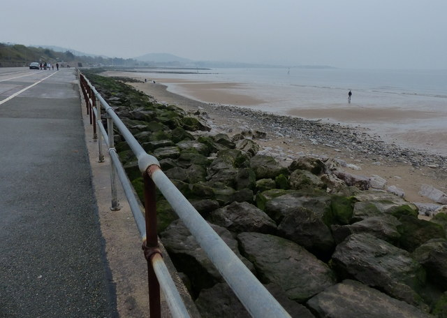 Promenade and beach at Colwyn Bay