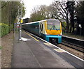 SO4593 : Southbound train at Church Stretton station by Jaggery