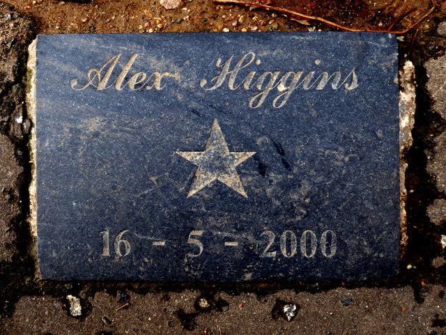 Plaque, Alex Higgins, Belfast