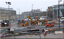 NT2574 : Road works, Picardy Place (1) by Jim Barton