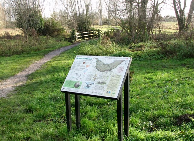 Information board by the entrance to Marston Marsh