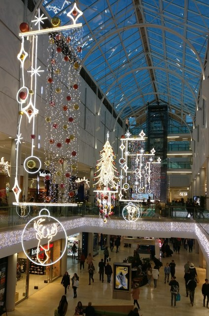 Christmas decorations in the Highcross Shopping Centre, Leicester