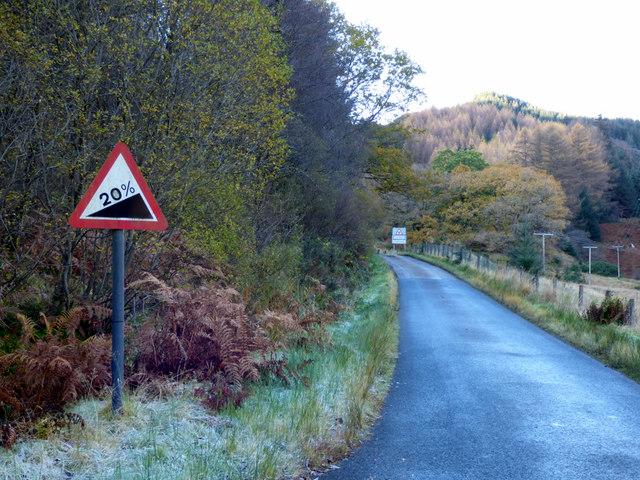 20% gradient sign in Glen Finart