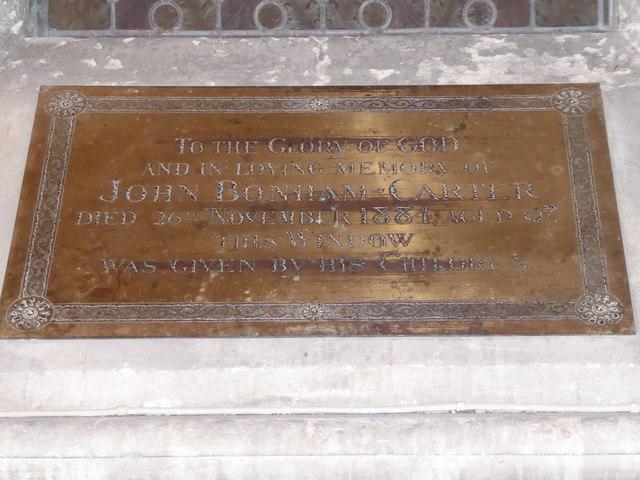 Inscription beneath the west window