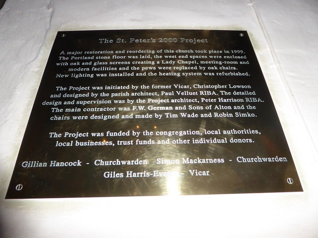 St Peter's Church: Millennium plaque