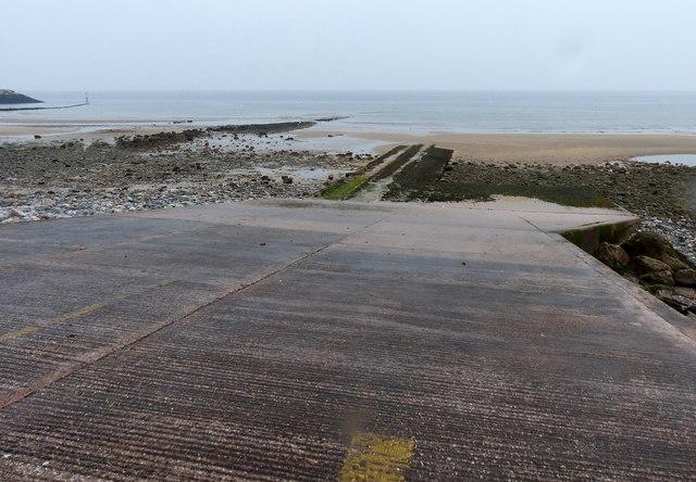 Slipway and beach at Rhôs-on-Sea