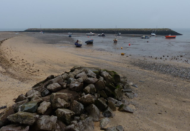 Beach and harbour at Rhôs-on-Sea