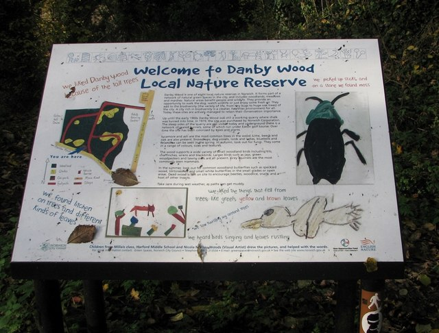 Danby Wood nature reserve - information board