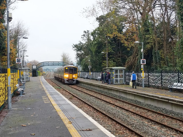 Train arriving at Fota