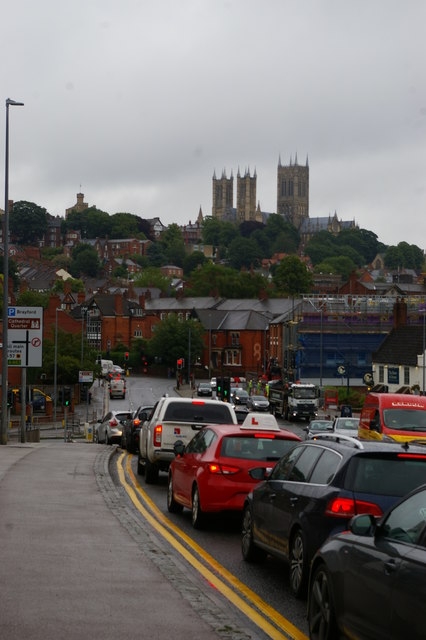 Lincoln: traffic on Brayford Way, with the cathedral beyond