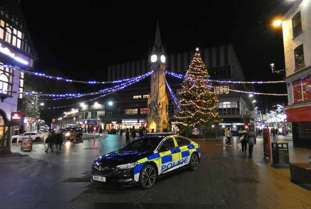 Police car parked on Leicester High Street