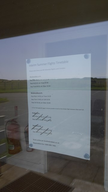 Departures and arrivals board, Coll Aerodrome