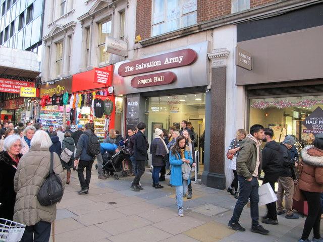 Oxford Street shoppers outside Regent Hall