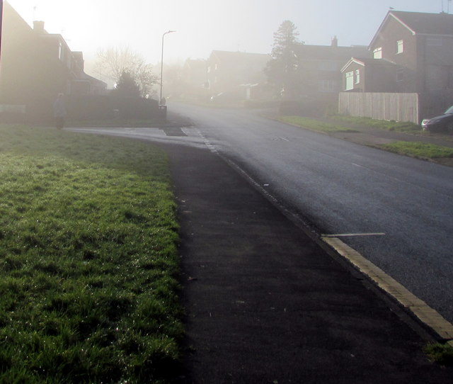 Into the fog, Rowan Way, Malpas, Newport