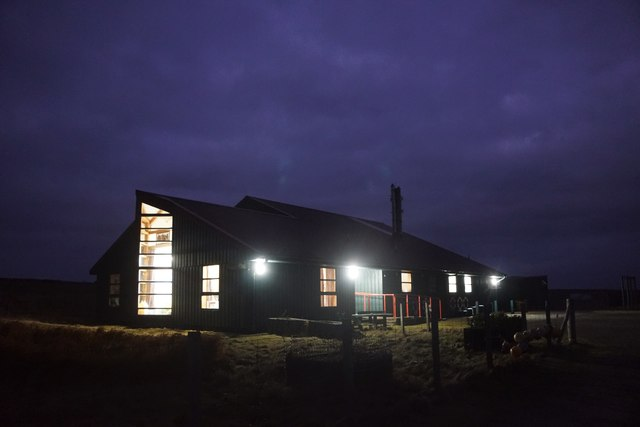 Foula school at night