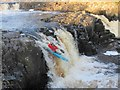 NY9028 : Canoe over Low Force, Teesdale by Les Hull