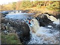 NY9028 : Canoeist over Low Force by Les Hull