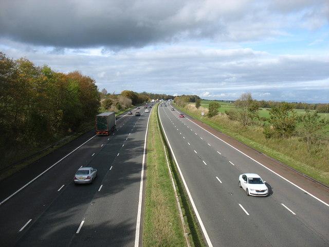 The M6 motorway, looking northbound