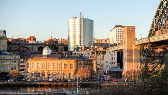 Low-angled sunshine on Newcastle Guildhall