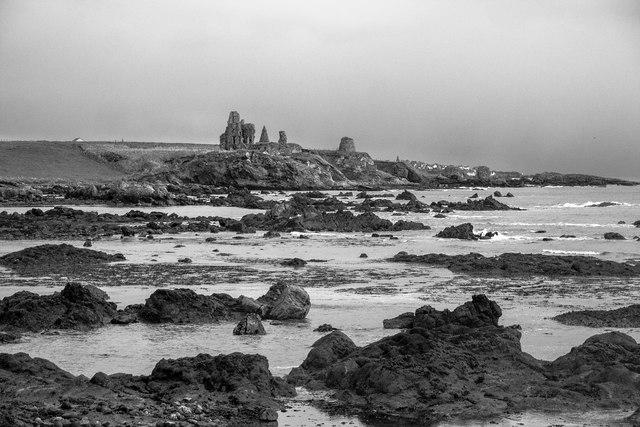 Approaching Newark Castle on the Fife Coast Path