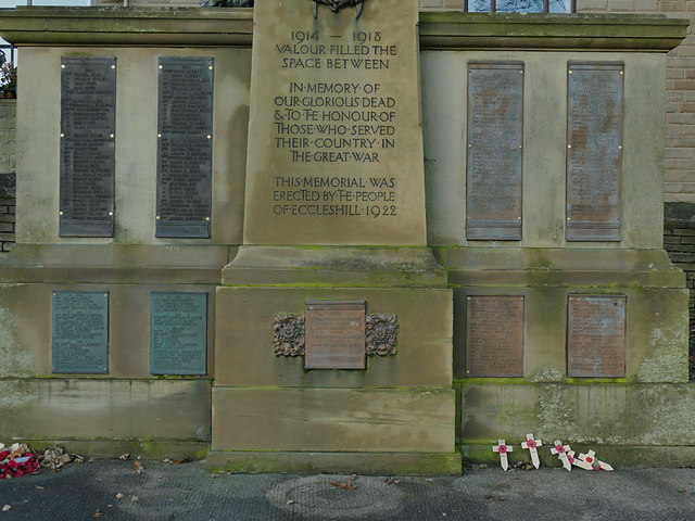 Names on the Eccleshill war memorial