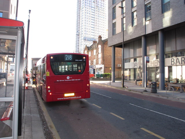 218 bus outside North Acton tube station