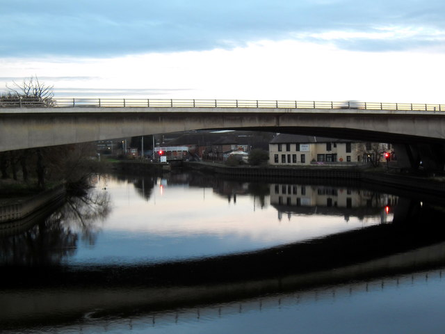 The old A1 bridge over the River Aire at Ferrybridge at twilight