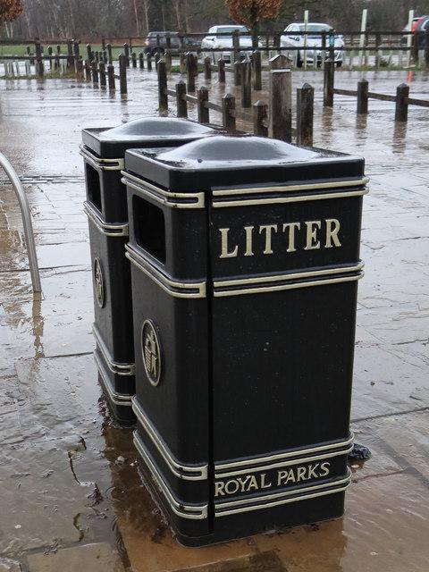 Two Royal Parks litter bins near Pembroke Lodge