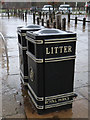 TQ1872 : Two Royal Parks litter bins near Pembroke Lodge by John S Turner