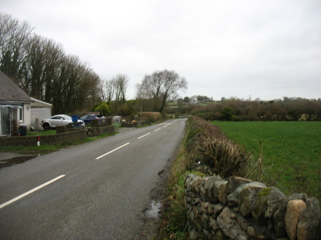 Minor road leading to Llanfair PG from the south-west
