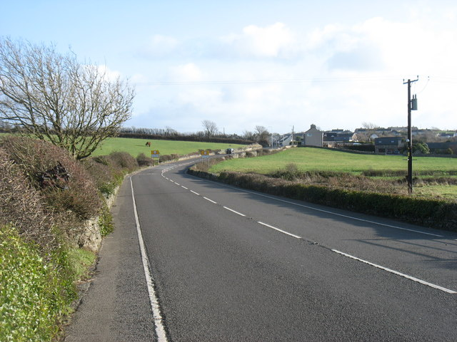 The A5 approaching Bryngwran