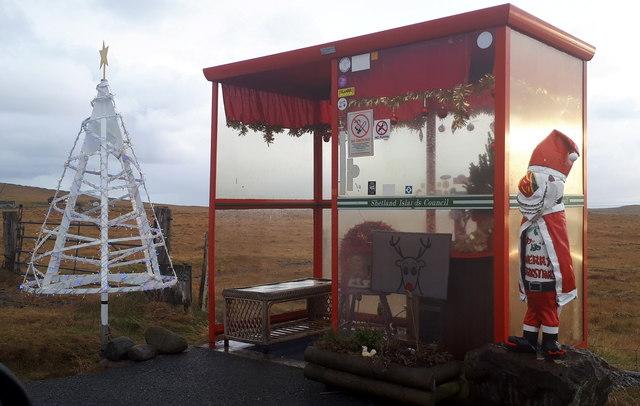 Festive Bobby's Bus Shelter, Baltasound