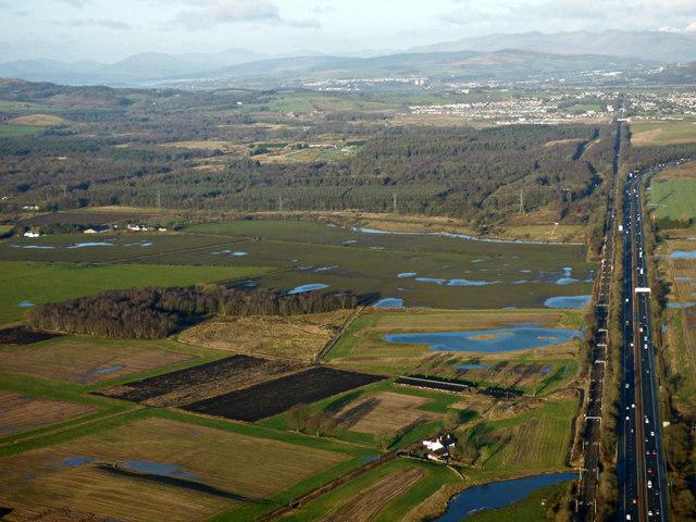 Farmland near Glasgow Airport from the air