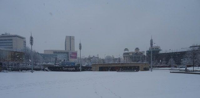 City Park, Bradford, on a snowy morning