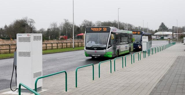 Electric bus recharging at Poppleton Bar