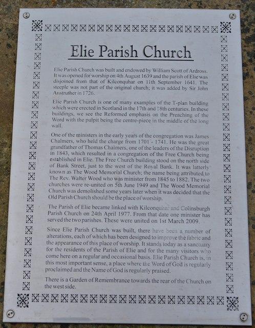 Notice at Elie church
