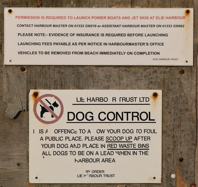 Notice at Elie Harbour