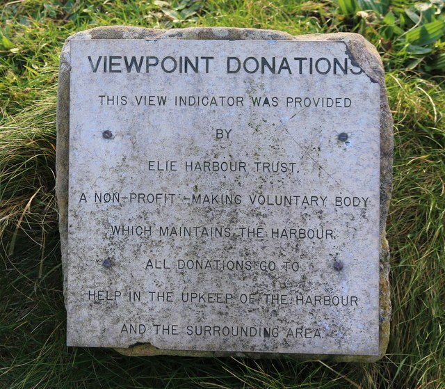 Plate asking for donations, Elie Harbour viewpoint