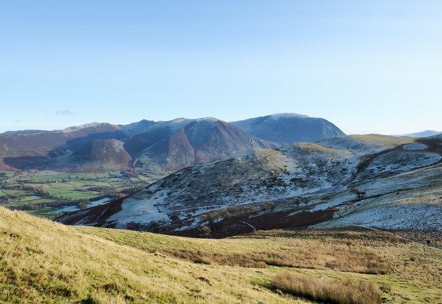Grassy slope descending from Fellbarrow