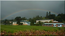 SO2956 : Rainbow over Lady Hawkins' School (Kington) by Fabian Musto