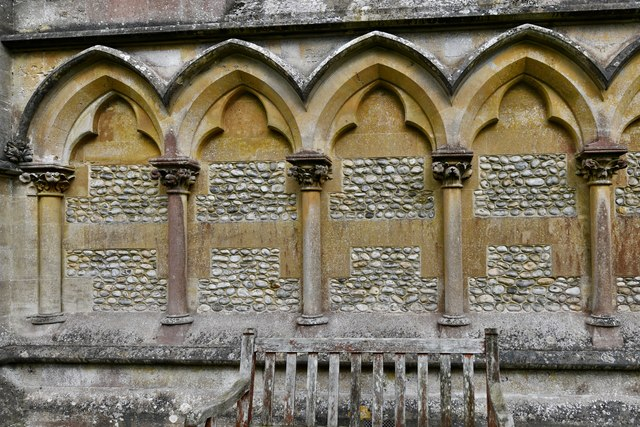 Ranmore Common, St. Barnabas Church: Blind arcading on the west wall 2